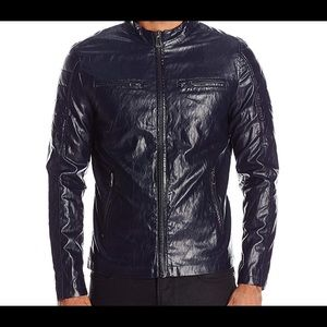 Guess lightweight faux leather moto jacket blue XL